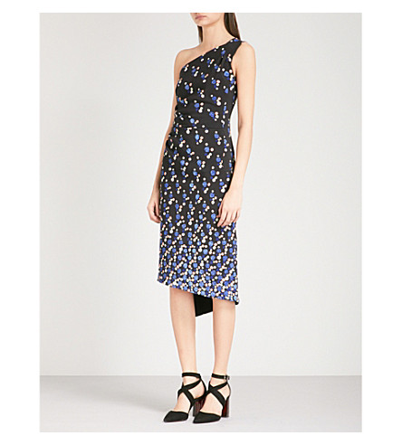 PETER PILOTTO One-shoulder abstract-print crepe dress (Navy
