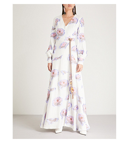 PETER PILOTTO Floral-jacquard crepe gown (White