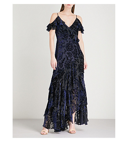 PETER PILOTTO Floral-patterned devoré gown (Navy