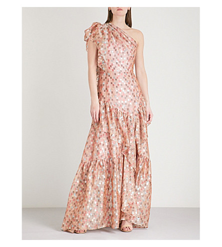 PETER PILOTTO Metallic-check stretch-silk gown (Nude