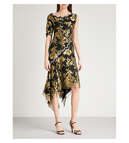 PETER PILOTTO One-sleeve metallic-lace dress (Black/gold