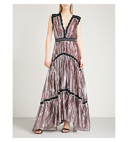 PETER PILOTTO Metallic sleeveless chiffon gown (Pink+met
