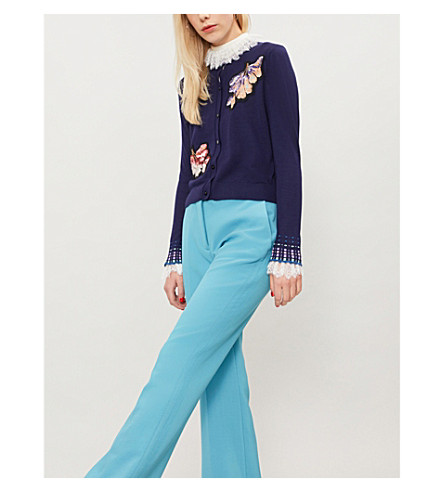 PETER PILOTTO Floral wool cardigan (Navy