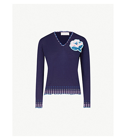 PETER PILOTTO V-neck embroidered wool jumper (Navy