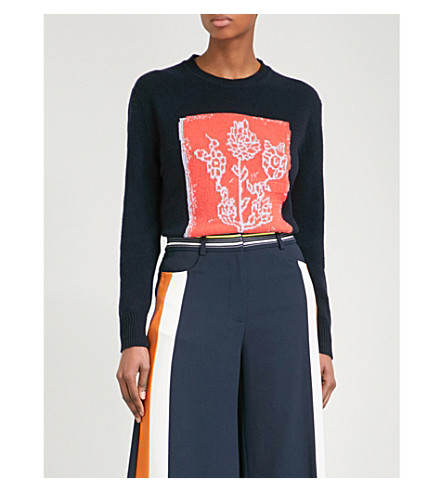PETER PILOTTO Floral-intarsia wool and cashmere-blend jumper (Navy