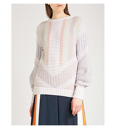 PETER PILOTTO Colour-blocked cotton-blend jumper (White