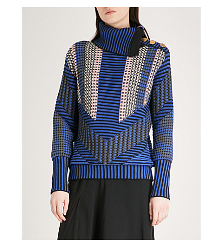 PETER PILOTTO Turtleneck cotton-blend jumper (Navy