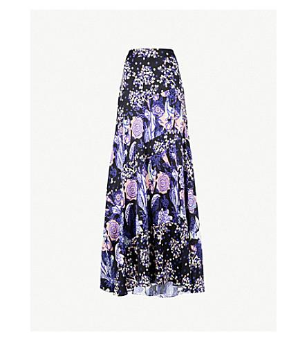 PETER PILOTTO Foiled floral-print silk maxi skirt (Navy