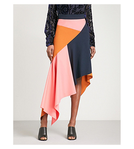 PETER PILOTTO Asymmetric contrast-panel high-rise crepe skirt (Multi