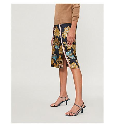 PETER PILOTTO Fig tree-print metallic jacquard skirt (Navy