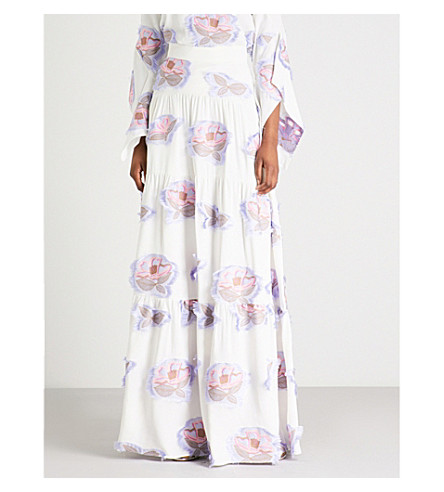 PETER PILOTTO Floral-embroidered crepe maxi skirt White Low Cost Cheap Price Cheap Low Cost 25SC4rUAt