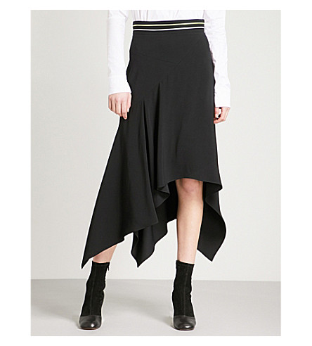 PETER PILOTTO Striped-waist draped crepe midi skirt (Black