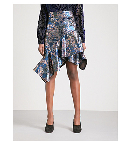 PETER PILOTTO Floral-jacquard flared high-rise skirt (Gold