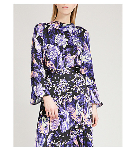 PETER PILOTTO Foiled floral-print silk blouse (Navy