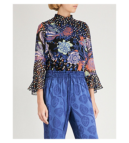 PETER PILOTTO Dot and floral-pattern high-neck silk top (Navy