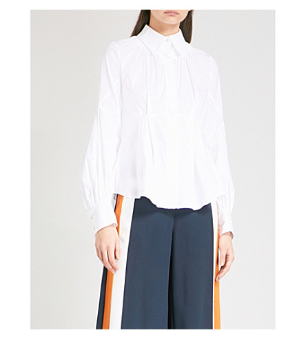 PETER PILOTTO Double-collar ruched cotton-blend shirt (White