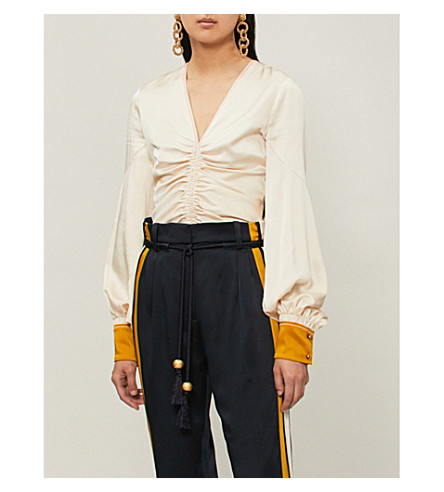 PETER PILOTTO Ruched 丝绸缎 BLOUSE (奶油