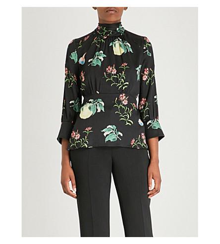 PETER PILOTTO Floral-print high-neck silk top (Black