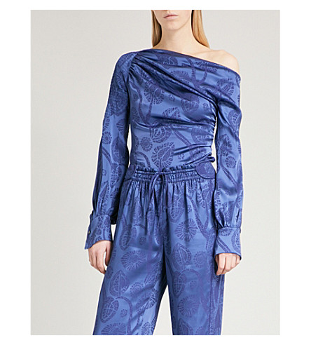 PETER PILOTTO Floral-jacquard off-the-shoulder satin blouse (Blue