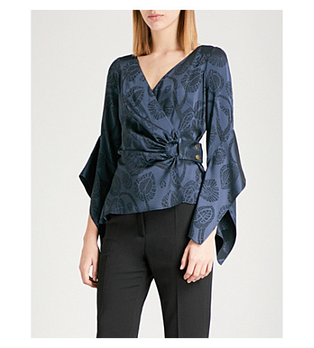 PETER PILOTTO Wrap satin-jacquard blouse (Navy