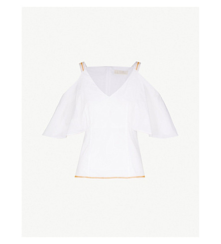 PETER PILOTTO Cold-shoulder draped cotton top (White