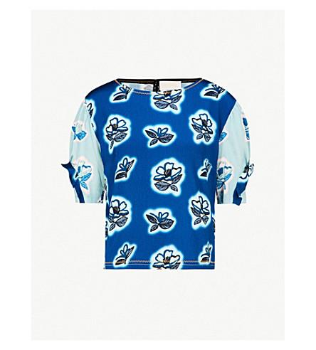 PETER PILOTTO Floral-print silk-crepe top (Cobalt