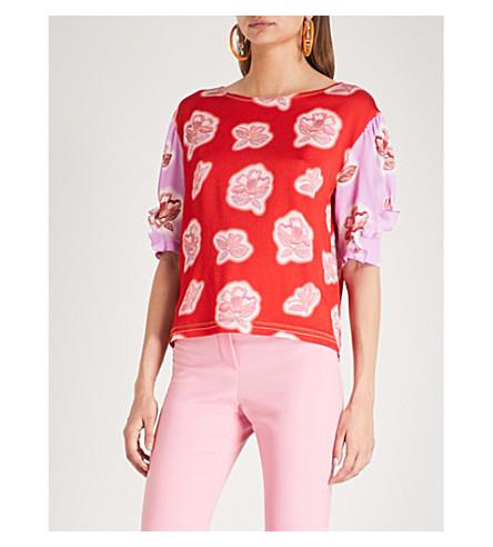 PETER PILOTTO Floral-print silk-crepe top (Red