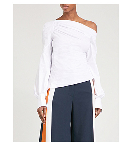 PETER PILOTTO Asymmetric gathered cotton-blend top (White