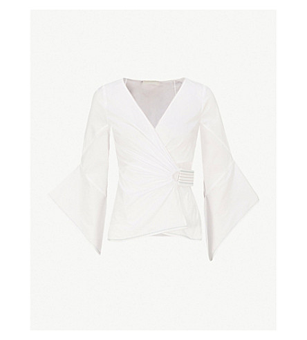 PETER PILOTTO Flared-sleeve cotton wrap top (White