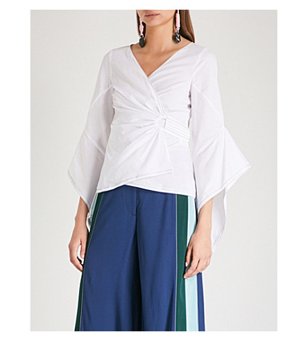PETER PILOTTO Flared-sleeve cotton wrap top (White