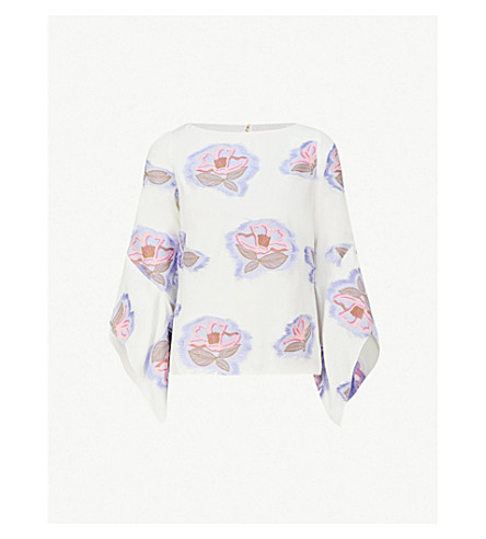 PETER PILOTTO Floral-embroidered crepe top (White