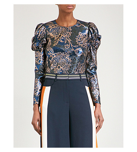 PETER PILOTTO Floral-jacquard metallic lurex top (Blue