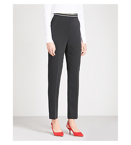PETER PILOTTO Tapered high-rise crepe trousers (Black
