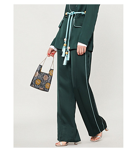 PETER PILOTTO Relaxed-fit satin trousers (Emerald