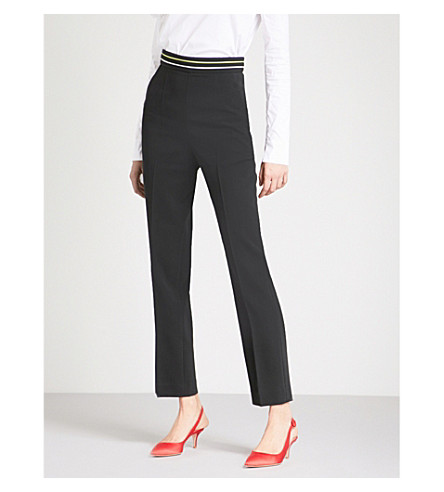 PETER PILOTTO Striped-panel straight high-rise crepe trousers (Black