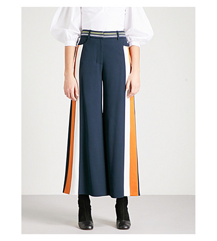 PETER PILOTTO Striped wide-leg crepe culottes (Navy