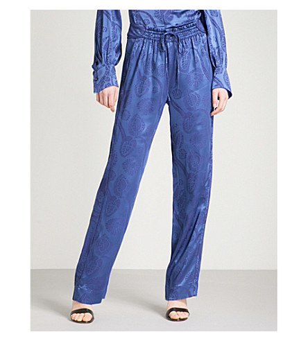 PETER PILOTTO Floral-jacquard relaxed-fit satin trousers (Blue