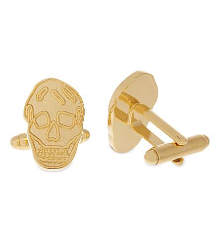 ALEXANDER MCQUEEN Enamel skull cufflinks (Gold