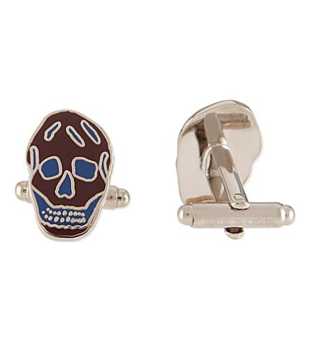 ALEXANDER MCQUEEN Skull cufflinks (Blue
