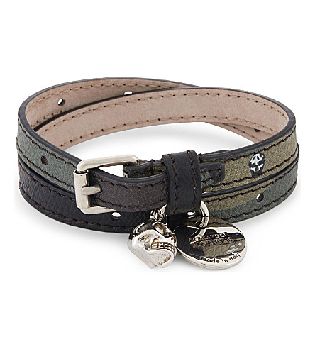 ALEXANDER MCQUEEN Skull double wrap leather bracelet (Khaki+silver