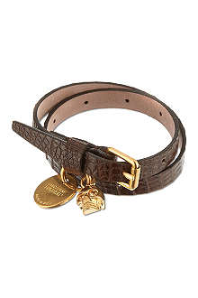 ALEXANDER MCQUEEN Lizard-print leather double wrap bracelet