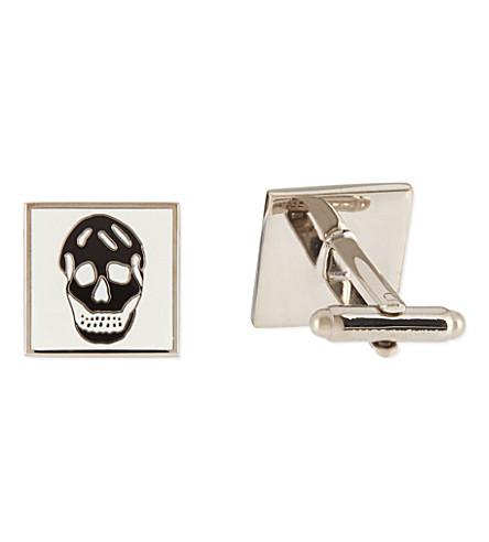 ALEXANDER MCQUEEN Square skull cufflinks (Black/white