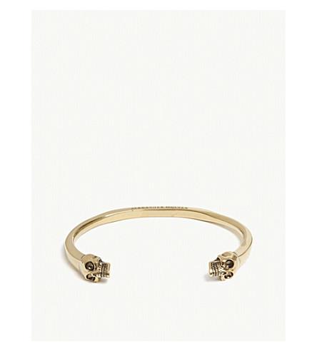 ALEXANDER MCQUEEN Twin textured skull bracelet (Gold