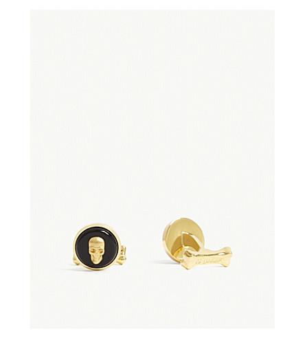 ALEXANDER MCQUEEN Round skull enamel cufflink (Silver+marble