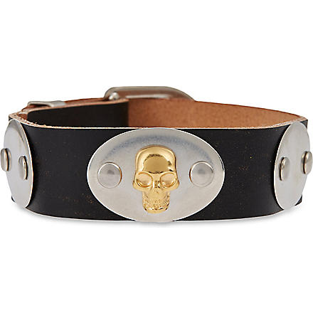 ALEXANDER MCQUEEN Leather skull cuff (Black