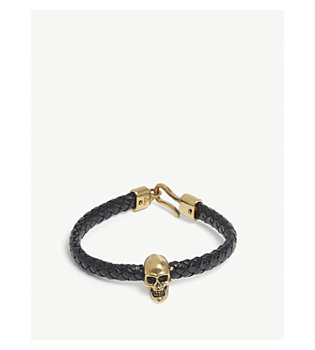 ALEXANDER MCQUEEN Leather skull bracelet (Black