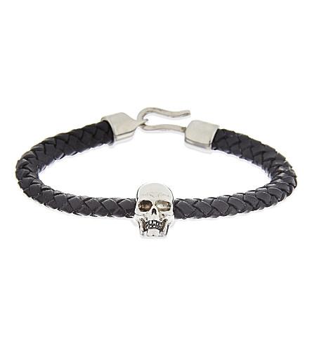 ALEXANDER MCQUEEN Leather skull bracelet (Black