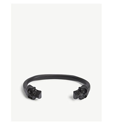 ALEXANDER MCQUEEN Twin skull brass bracelet (Matte+black