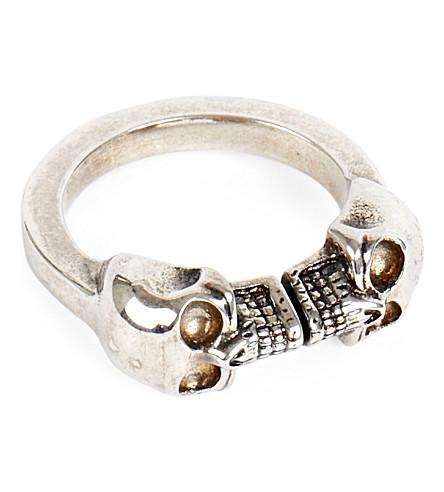 ALEXANDER MCQUEEN Double skull ring (Gun+metal
