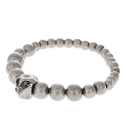 ALEXANDER MCQUEEN Beaded skull bracelet (Silver